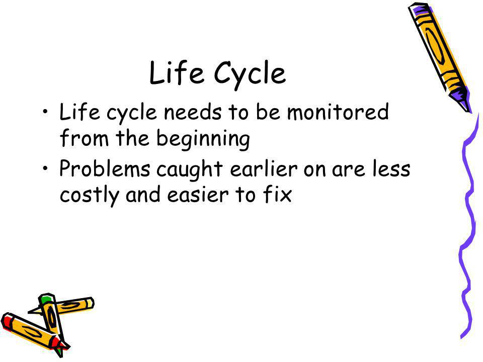 Life Cycle Life cycle needs to be monitored from the beginning Problems caught earlier on are less costly and easier to fix
