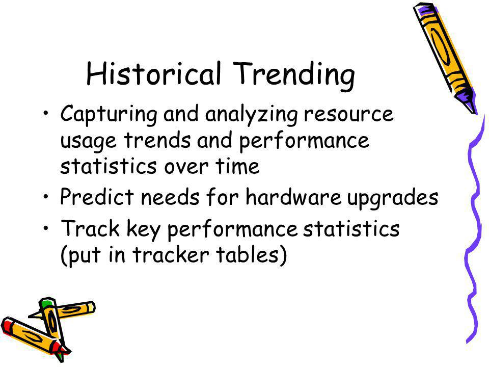 Historical Trending Capturing and analyzing resource usage trends and performance statistics over time Predict needs for hardware upgrades Track key performance statistics (put in tracker tables)