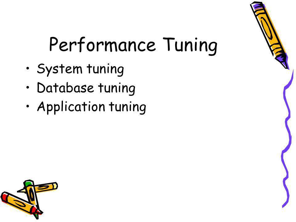 Performance Tuning System tuning Database tuning Application tuning