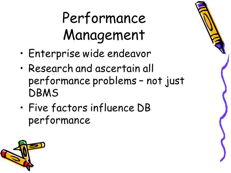 DB performance Five factors –Workload – combination of online transactions, batch jobs, ad hoc queries, datawarehousing analysis and system –Throughput – overall capability of the computer to process data –Resources – hardware and software tools at the disposal of the system