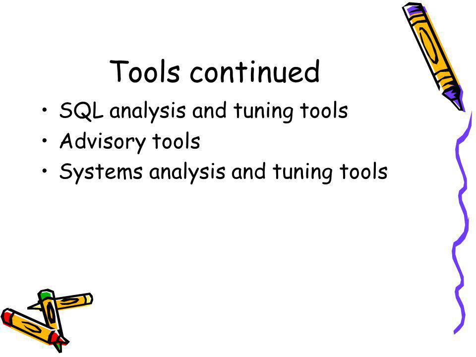 Tools continued SQL analysis and tuning tools Advisory tools Systems analysis and tuning tools