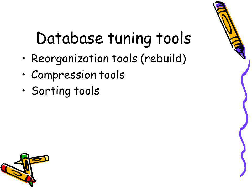 Database tuning tools Reorganization tools (rebuild) Compression tools Sorting tools