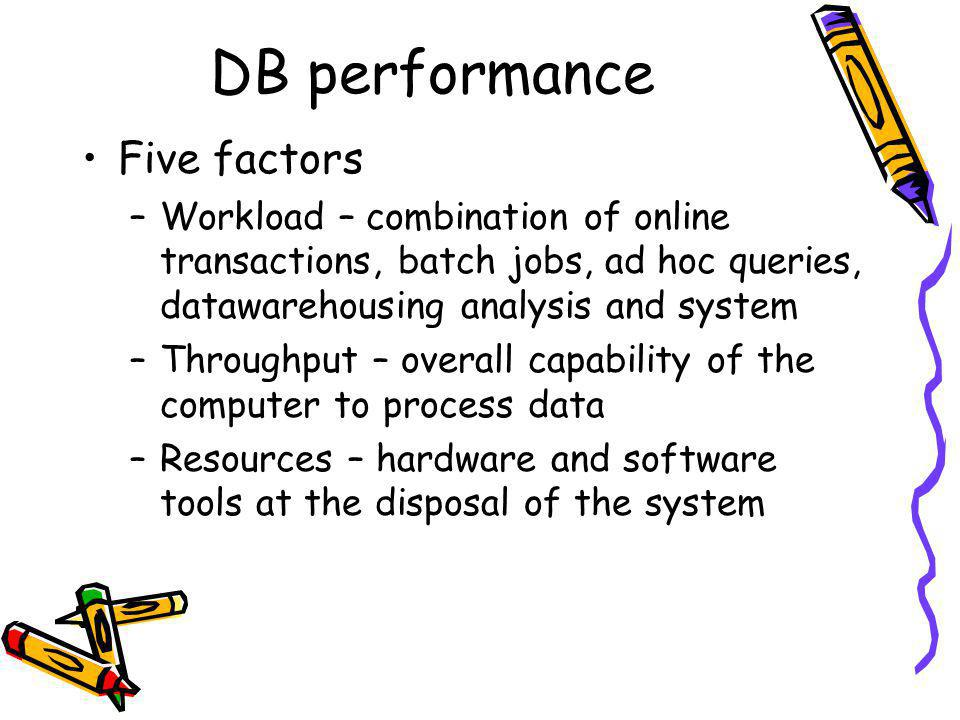 DB performance Five factors –Workload – combination of online transactions, batch jobs, ad hoc queries, datawarehousing analysis and system –Throughpu