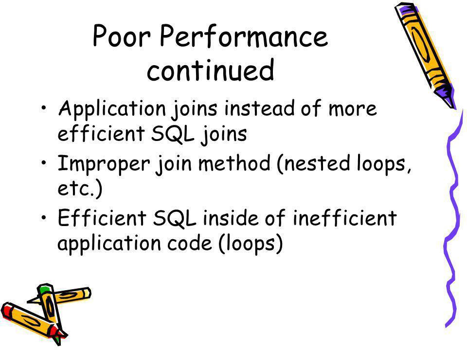 Poor Performance continued Application joins instead of more efficient SQL joins Improper join method (nested loops, etc.) Efficient SQL inside of inefficient application code (loops)