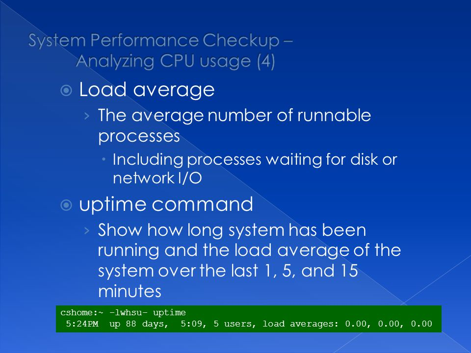 top command Display and update information about the top cpu processes ps command Show process status