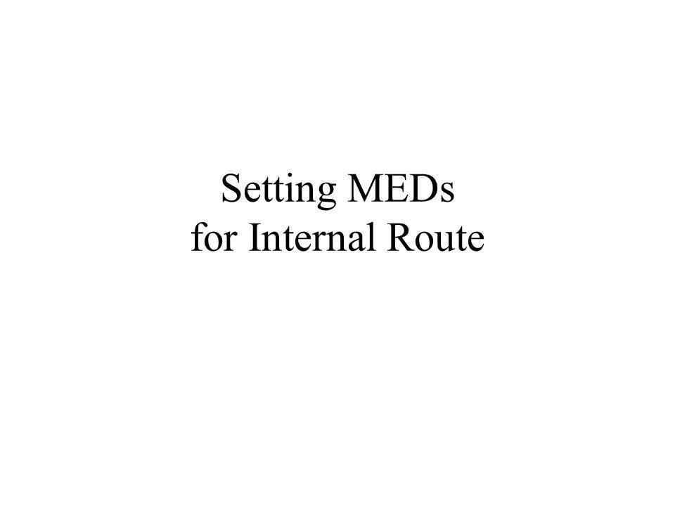 Setting MEDs for Internal Route