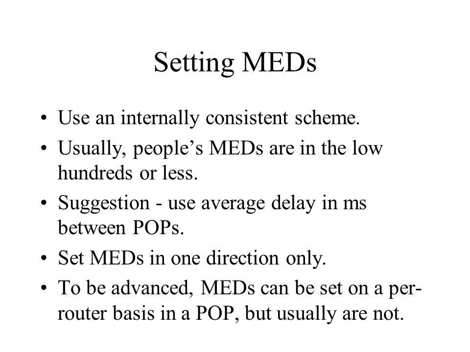 Setting MEDs Use an internally consistent scheme.