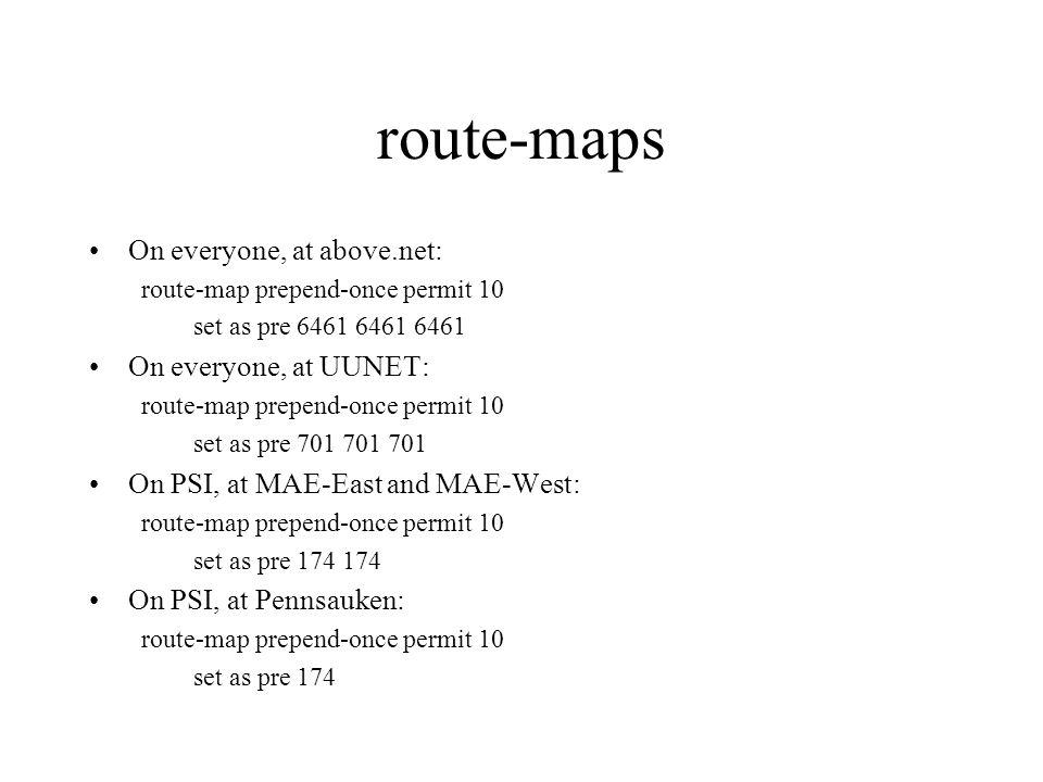 route-maps On everyone, at above.net: route-map prepend-once permit 10 set as pre On everyone, at UUNET: route-map prepend-once permit 10 set as pre On PSI, at MAE-East and MAE-West: route-map prepend-once permit 10 set as pre On PSI, at Pennsauken: route-map prepend-once permit 10 set as pre 174