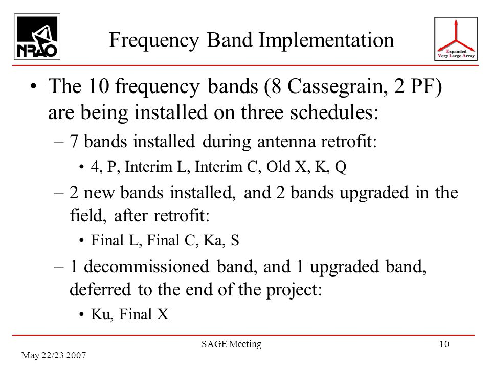 May 22/23 2007 SAGE Meeting10 Frequency Band Implementation The 10 frequency bands (8 Cassegrain, 2 PF) are being installed on three schedules: –7 bands installed during antenna retrofit: 4, P, Interim L, Interim C, Old X, K, Q –2 new bands installed, and 2 bands upgraded in the field, after retrofit: Final L, Final C, Ka, S –1 decommissioned band, and 1 upgraded band, deferred to the end of the project: Ku, Final X