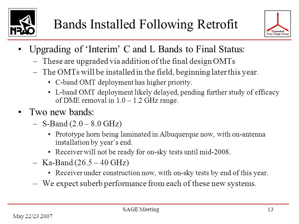 May 22/23 2007 SAGE Meeting13 Bands Installed Following Retrofit Upgrading of Interim C and L Bands to Final Status: –These are upgraded via addition of the final design OMTs –The OMTs will be installed in the field, beginning later this year.