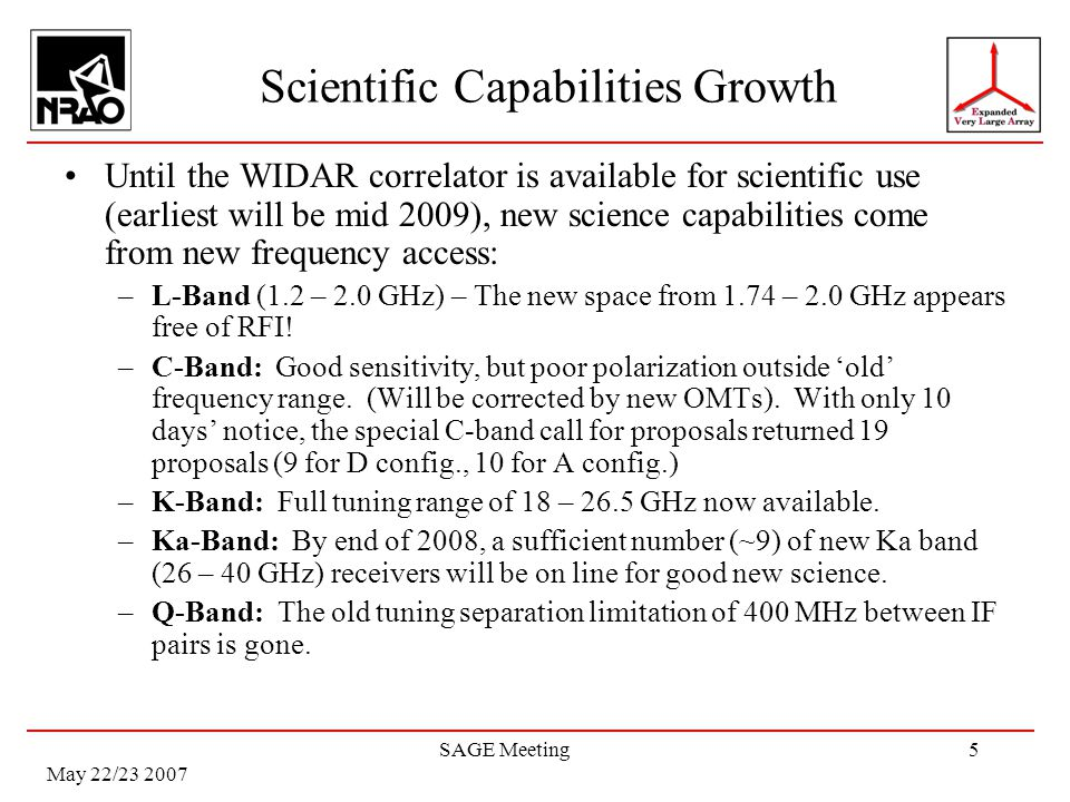 May 22/23 2007 SAGE Meeting5 Scientific Capabilities Growth Until the WIDAR correlator is available for scientific use (earliest will be mid 2009), new science capabilities come from new frequency access: –L-Band (1.2 – 2.0 GHz) – The new space from 1.74 – 2.0 GHz appears free of RFI.