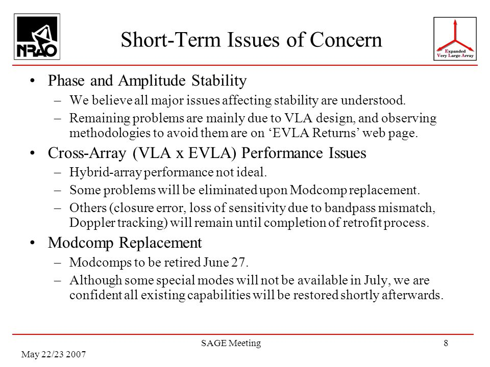 May 22/23 2007 SAGE Meeting8 Short-Term Issues of Concern Phase and Amplitude Stability –We believe all major issues affecting stability are understood.