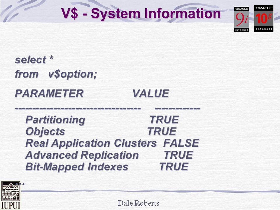Dale Roberts 134 V$ - System Information SQL> select * from v$version; BANNER--------------------------------------------------------------- Oracle Database 10g Enterprise Edition Release 10.1.0.2.0 – Prod PL/SQL Release 10.1.0.2.0 –Production CORE 10.1.0.2.0 Production TNS for 32-bit Windows: Version 10.1.0.2.0 – Production NLSRTL Version 10.1.0.2.0 – Production