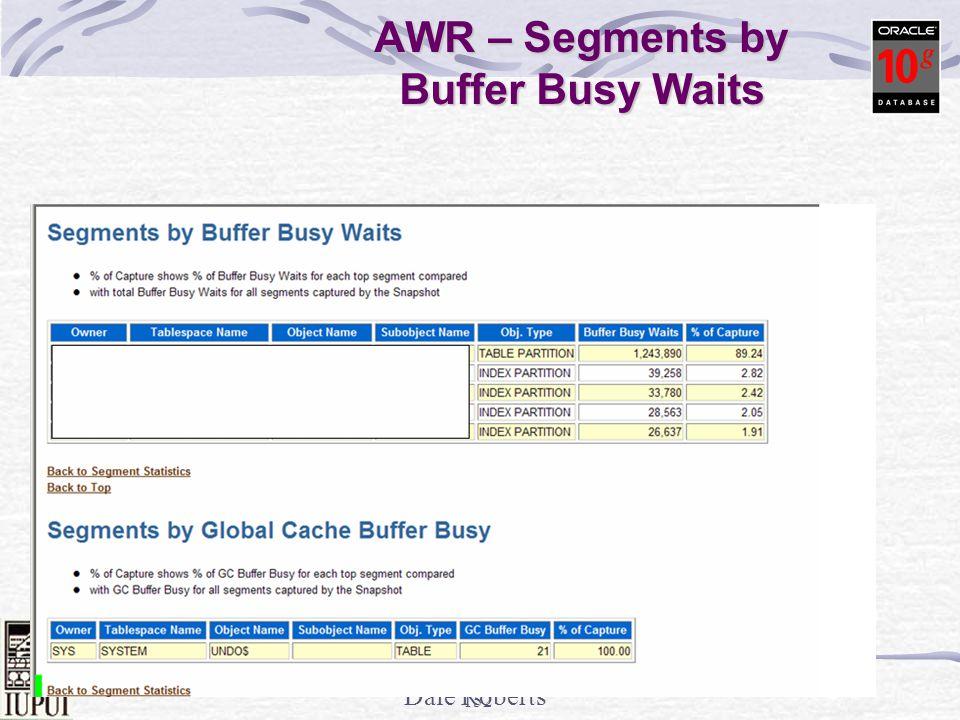 Dale Roberts 151 Great V$ - V$SEGMENT_STATISTICS select object_name, statistic_name, value from v$segment_statistics where value > 100000 order by value; OBJECT_NAMESTATISTIC_NAME VALUE ----------------------------------------------------------------- --- ------------ ORDERS space allocated 96551 ORDERS space allocated 134181 ORDERSlogical reads 140976 ORDER_LINESdb block changes 183600