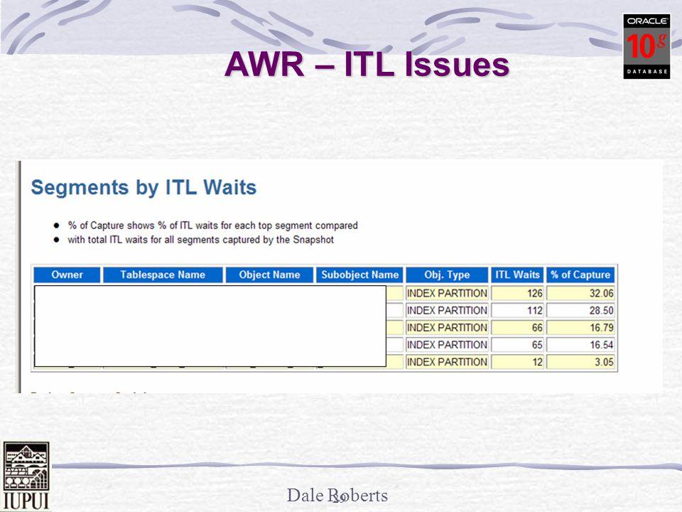 Dale Roberts 28 Block Dumps – Top Section / ITL Itl Xid Uba Flag Lck Scn/Fsc 0x01 0x0004.010.00000fba 0x0080003d.08b5.10 ---- 4 fsc 0x009d.00000000 0x02 0x0004.016.00000fae 0x008000cc.08af.34 C--- 0 scn 0x0000.003deb5b ITL – 2 Interested Transaction Lists Transaction ID Undo#.slot#.wrap# (Undo#,slot#,seq#) UBA: File.block(Undo dba).sequence.record Undo block address where last change is recorded.