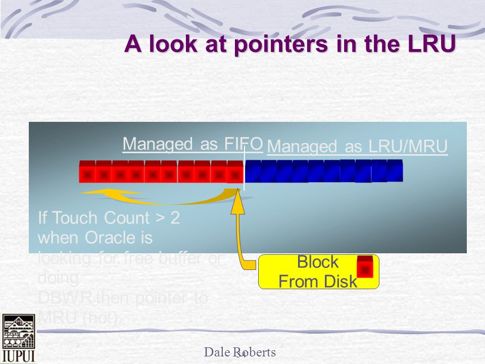 Dale Roberts 33 The percent of buffers in the hot region A look at pointers in the LRU Managed as FIFO _db_percent_hot_default = 50 The percent of buffers in the hot region LRU Lists _db_percent_hot_default = 70 (too high?) The percent of buffers in the hot region Managed as LRU/MRU LRU Lists