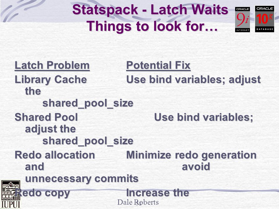 Dale Roberts 51 Statspack - Latch Waits Gets - The number of times a willing to wait request for a latch was requested and it was available.