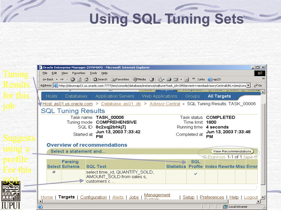 Dale Roberts 90 Drill into Top SQL for worst time period Get Help! ADDM SQL Tuning Advisor