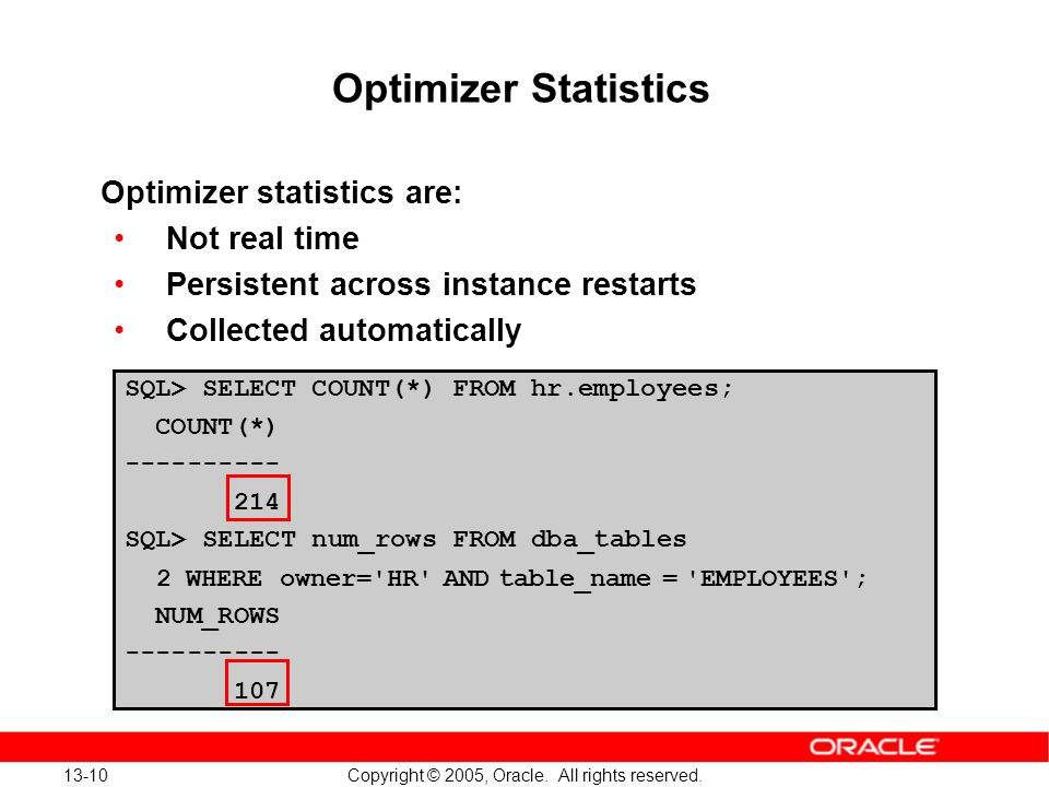 13-10 Copyright © 2005, Oracle. All rights reserved. Optimizer Statistics Optimizer statistics are: Not real time Persistent across instance restarts