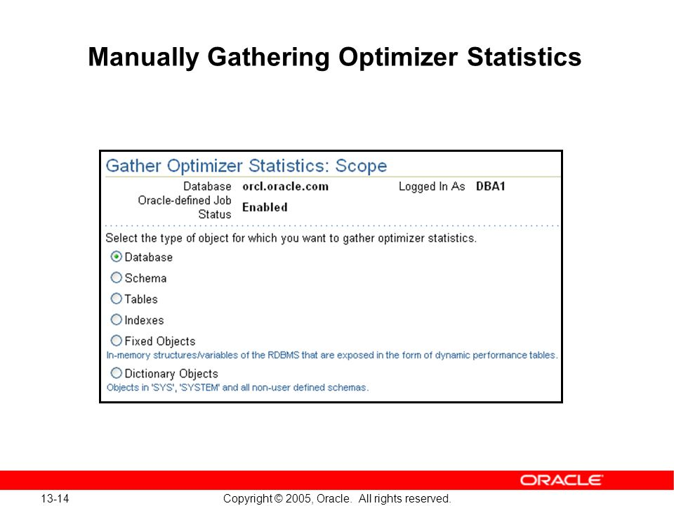 13-14 Copyright © 2005, Oracle. All rights reserved. Manually Gathering Optimizer Statistics