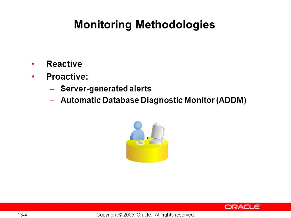 13-4 Copyright © 2005, Oracle. All rights reserved. Monitoring Methodologies Reactive Proactive: –Server-generated alerts –Automatic Database Diagnost