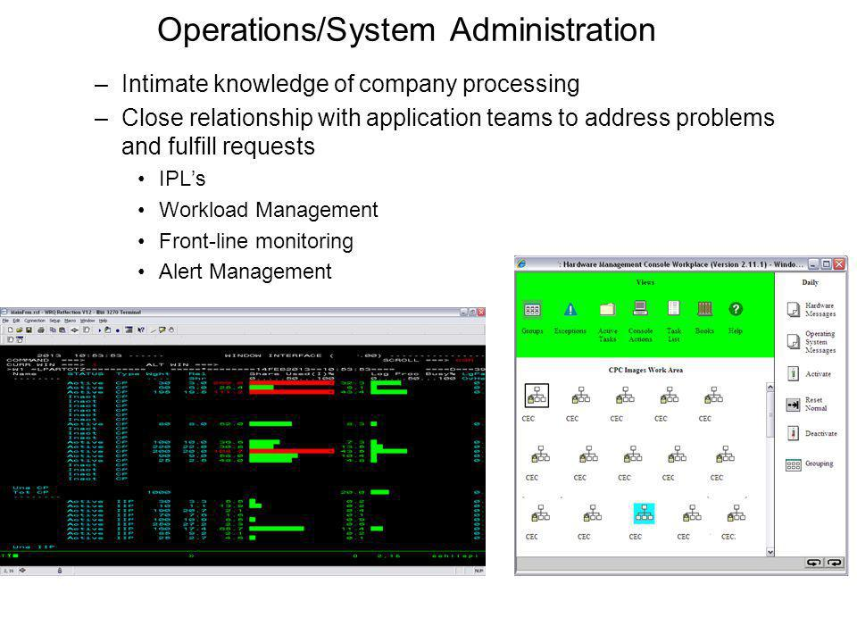 Operations/System Administration –Intimate knowledge of company processing –Close relationship with application teams to address problems and fulfill