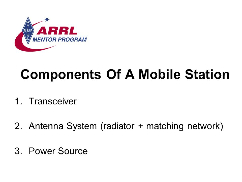 Components Of A Mobile Station 1.Transceiver 2.Antenna System (radiator + matching network) 3.Power Source