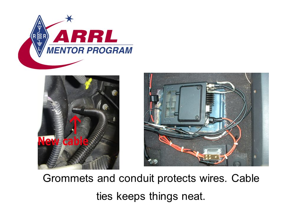 Grommets and conduit protects wires. Cable ties keeps things neat.