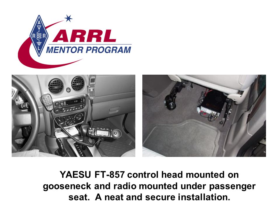 YAESU FT-857 control head mounted on gooseneck and radio mounted under passenger seat.