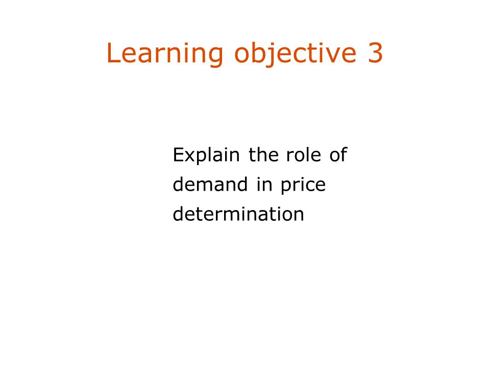 Learning objective 3 Explain the role of demand in price determination