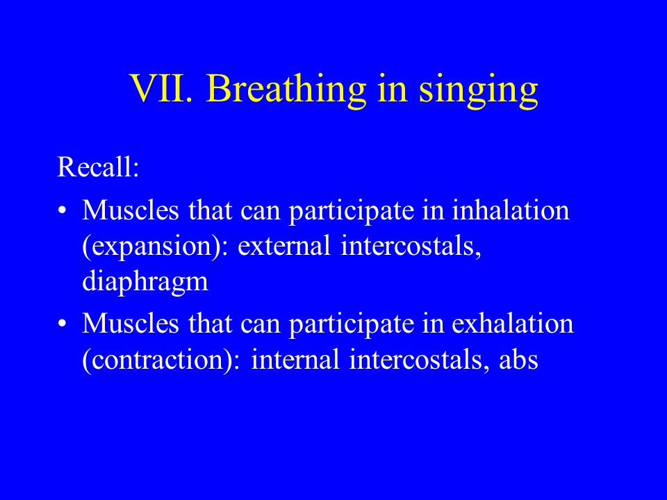VII. Breathing in singing Recall: Muscles that can participate in inhalation (expansion): external intercostals, diaphragm Muscles that can participat