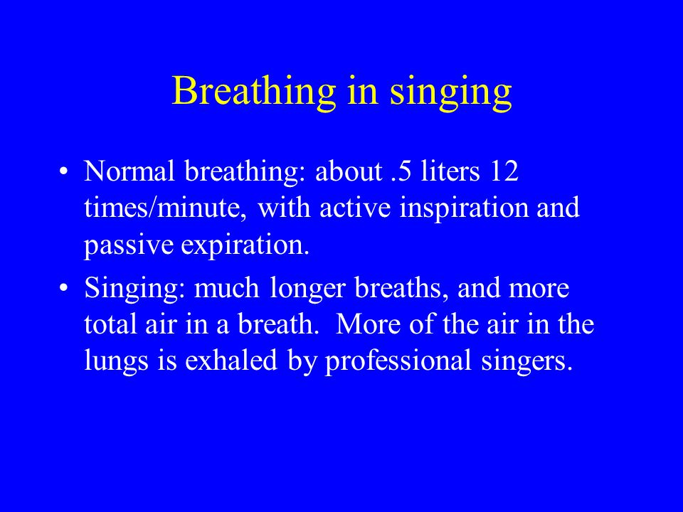 Breathing in singing Normal breathing: about.5 liters 12 times/minute, with active inspiration and passive expiration. Singing: much longer breaths, a