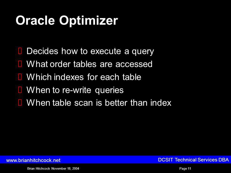DCSIT Technical Services DBA Brian Hitchcock November 18, 2004Page 11 www.brianhitchcock.net Oracle Optimizer Decides how to execute a query What order tables are accessed Which indexes for each table When to re-write queries When table scan is better than index