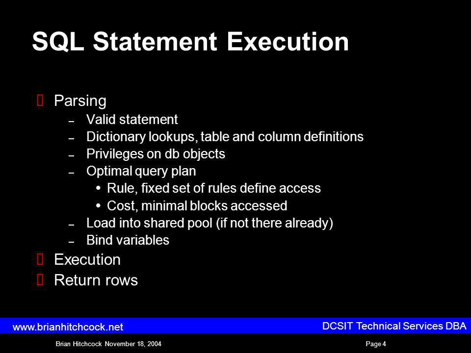 DCSIT Technical Services DBA Brian Hitchcock November 18, 2004Page 4 www.brianhitchcock.net SQL Statement Execution Parsing – Valid statement – Dictionary lookups, table and column definitions – Privileges on db objects – Optimal query plan Rule, fixed set of rules define access Cost, minimal blocks accessed – Load into shared pool (if not there already) – Bind variables Execution Return rows