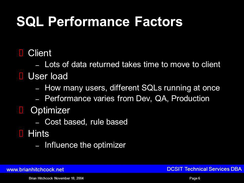 DCSIT Technical Services DBA Brian Hitchcock November 18, 2004Page 6 www.brianhitchcock.net SQL Performance Factors Client – Lots of data returned takes time to move to client User load – How many users, different SQLs running at once – Performance varies from Dev, QA, Production Optimizer – Cost based, rule based Hints – Influence the optimizer