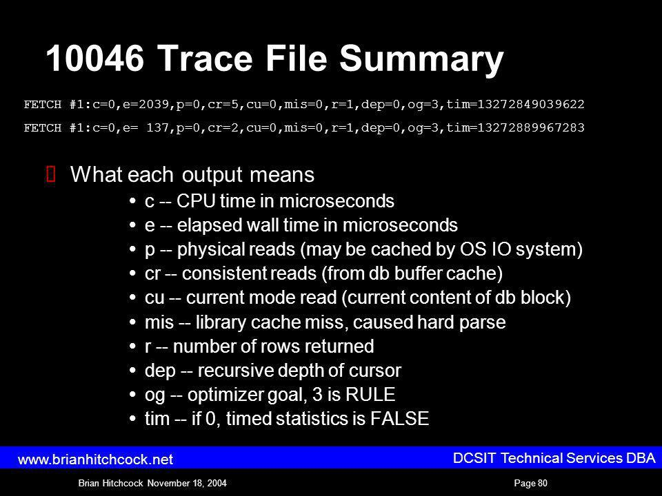 DCSIT Technical Services DBA Brian Hitchcock November 18, 2004Page 80 www.brianhitchcock.net 10046 Trace File Summary What each output means c -- CPU time in microseconds e -- elapsed wall time in microseconds p -- physical reads (may be cached by OS IO system) cr -- consistent reads (from db buffer cache) cu -- current mode read (current content of db block) mis -- library cache miss, caused hard parse r -- number of rows returned dep -- recursive depth of cursor og -- optimizer goal, 3 is RULE tim -- if 0, timed statistics is FALSE FETCH #1:c=0,e=2039,p=0,cr=5,cu=0,mis=0,r=1,dep=0,og=3,tim=13272849039622 FETCH #1:c=0,e= 137,p=0,cr=2,cu=0,mis=0,r=1,dep=0,og=3,tim=13272889967283