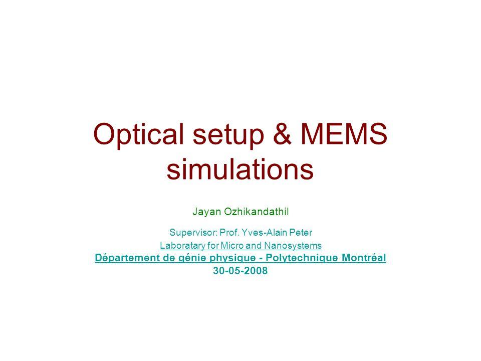 Optical setup & MEMS simulations Jayan Ozhikandathil Supervisor: Prof. Yves-Alain Peter Laboratary for Micro and Nanosystems Département de génie phys