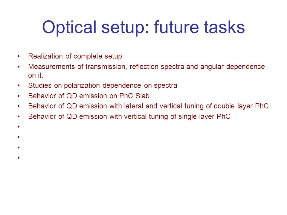 Optical setup: future tasks Realization of complete setup Measurements of transmission, reflection spectra and angular dependence on it. Studies on po
