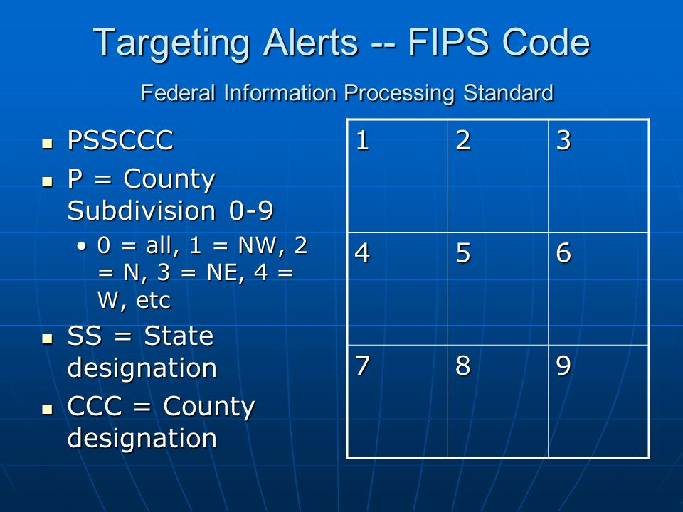 Targeting Alerts -- FIPS Code Federal Information Processing Standard PSSCCC PSSCCC P = County Subdivision 0-9 P = County Subdivision 0-9 0 = all, 1 = NW, 2 = N, 3 = NE, 4 = W, etc0 = all, 1 = NW, 2 = N, 3 = NE, 4 = W, etc SS = State designation SS = State designation CCC = County designation CCC = County designation 123 456 789
