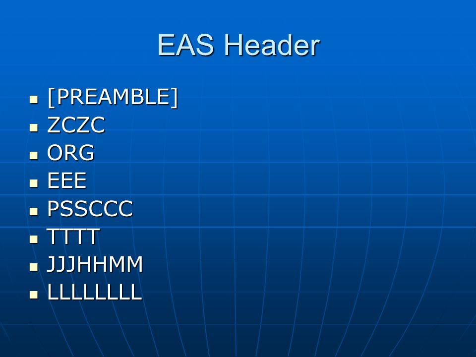 EAS Header [PREAMBLE] [PREAMBLE] ZCZC ZCZC ORG ORG EEE EEE PSSCCC PSSCCC TTTT TTTT JJJHHMM JJJHHMM LLLLLLLL LLLLLLLL