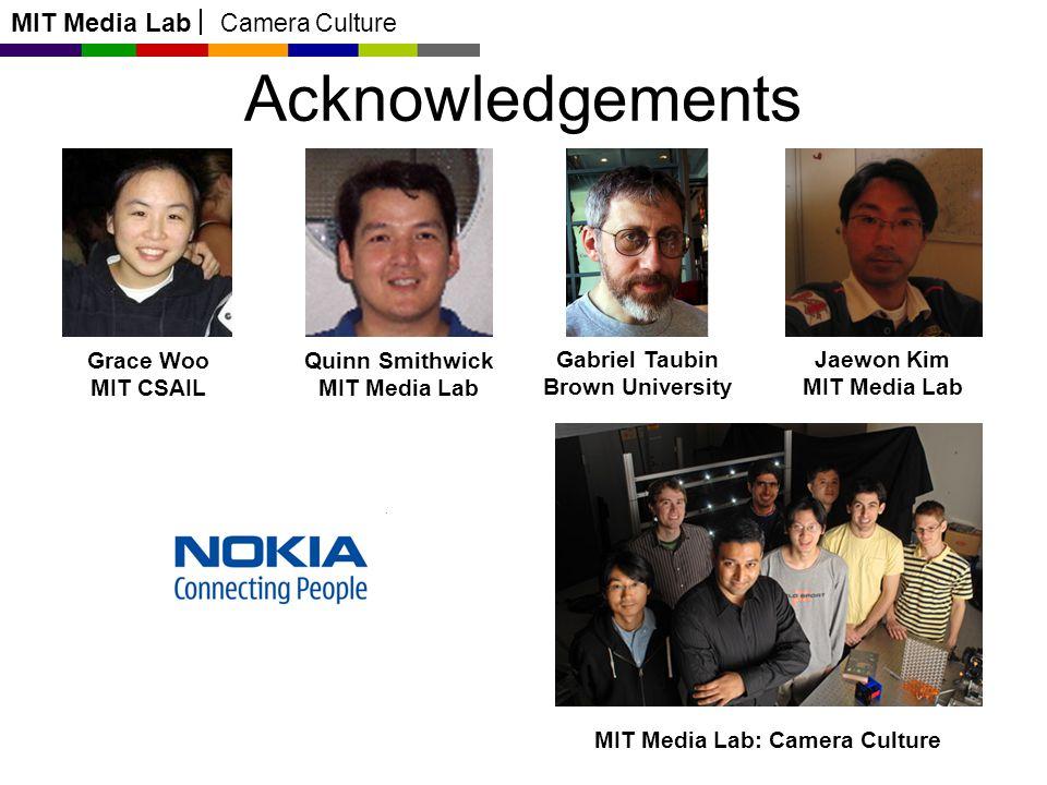MIT Media Lab Camera Culture Acknowledgements Grace Woo MIT CSAIL Quinn Smithwick MIT Media Lab Gabriel Taubin Brown University Jaewon Kim MIT Media L