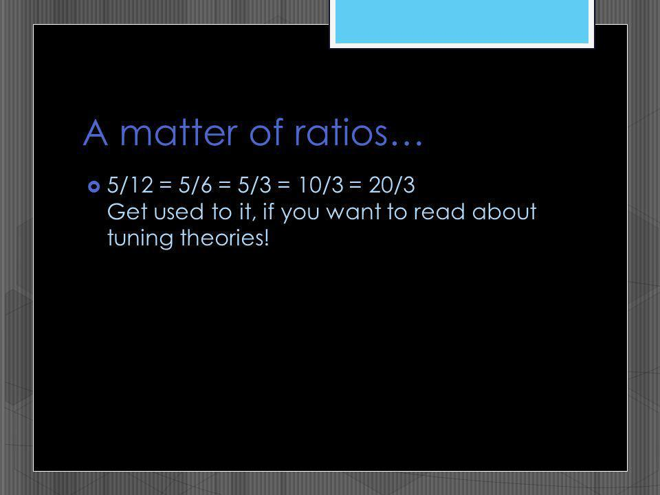 A matter of ratios… 5/12 = 5/6 = 5/3 = 10/3 = 20/3 Get used to it, if you want to read about tuning theories!