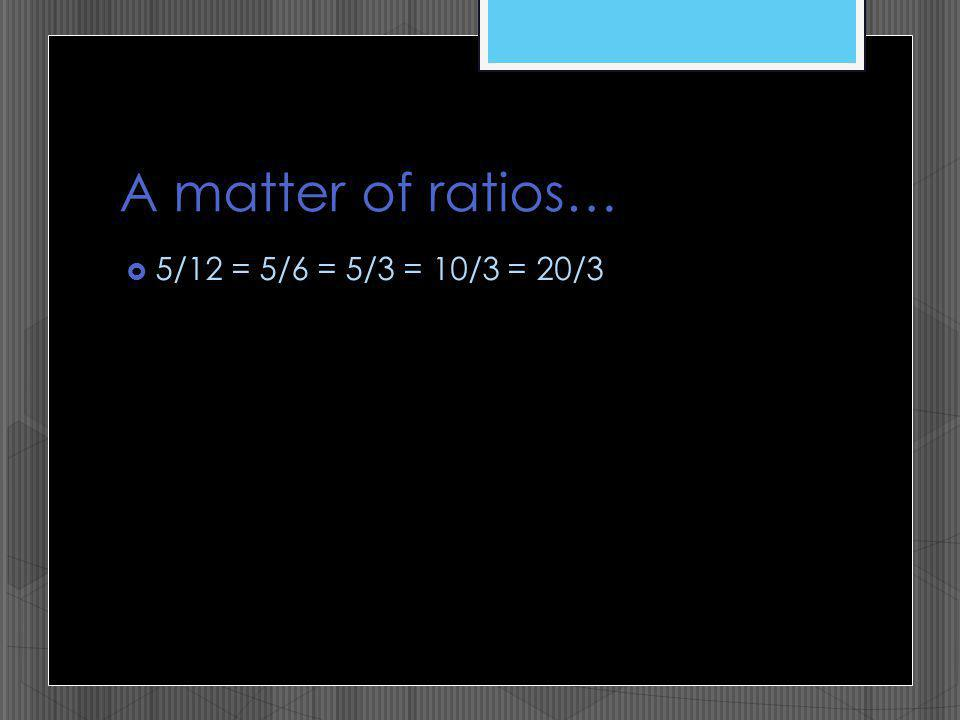 A matter of ratios… 5/12 = 5/6 = 5/3 = 10/3 = 20/3