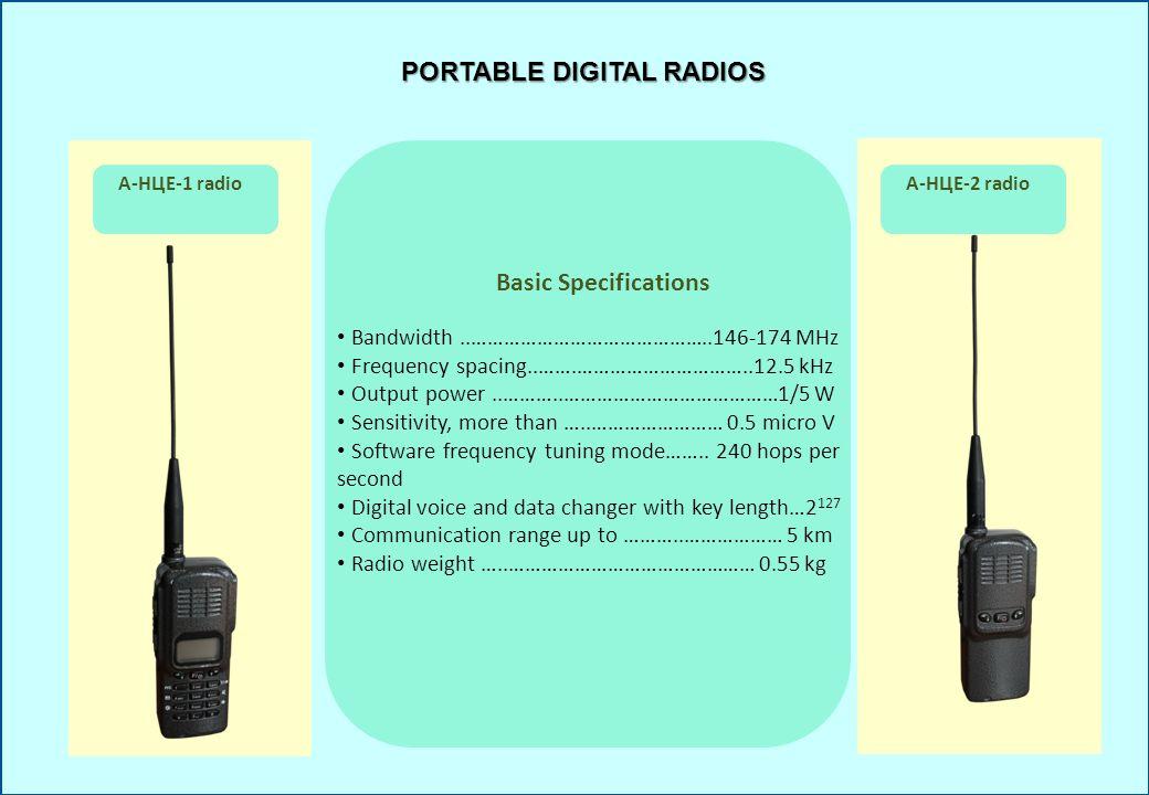 PORTABLE DIGITAL RADIOS А-НЦЕ-1 radioА-НЦЕ-2 radio Basic Specifications Bandwidth..……………………………………..146-174 MHz Frequency spacing..…….…………………………..12.5
