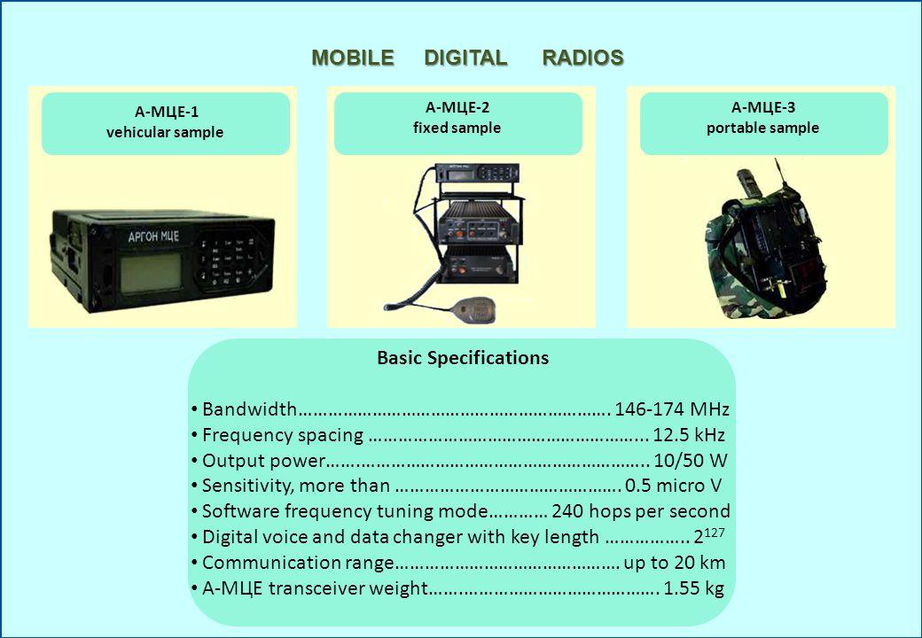 MOBILE DIGITAL RADIOS А-МЦЕ-1 vehicular sample А-МЦЕ-3 portable sample А-МЦЕ-2 fixed sample Basic Specifications Bandwidth………………………………………………………. 146-1