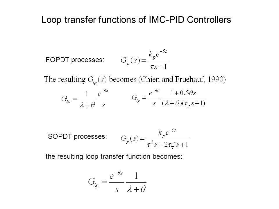 Loop transfer functions of IMC-PID Controllers the resulting loop transfer function becomes: FOPDT processes: SOPDT processes: