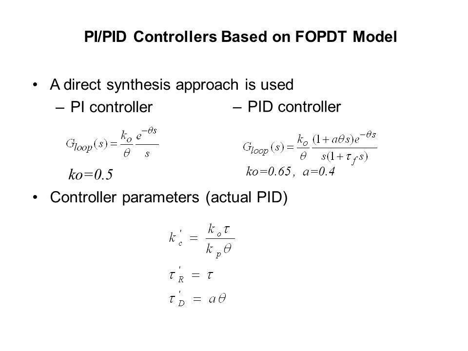 PI/PID Controllers Based on FOPDT Model A direct synthesis approach is used –PI controller ko=0.5 Controller parameters (actual PID) –PID controller k