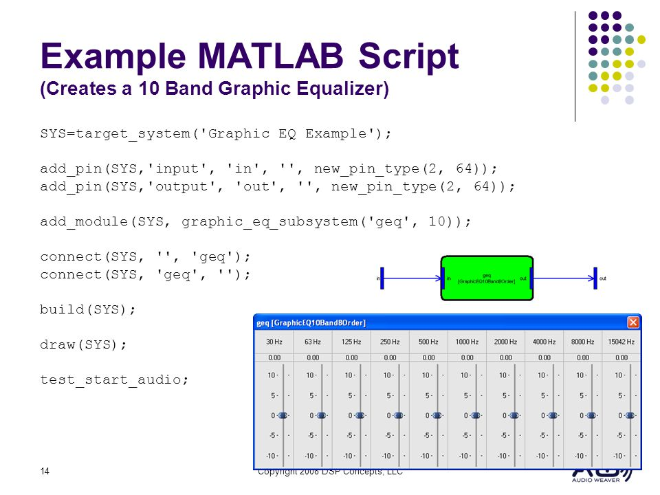 14Copyright 2008 DSP Concepts, LLC Example MATLAB Script (Creates a 10 Band Graphic Equalizer) SYS=target_system('Graphic EQ Example'); add_pin(SYS,'i
