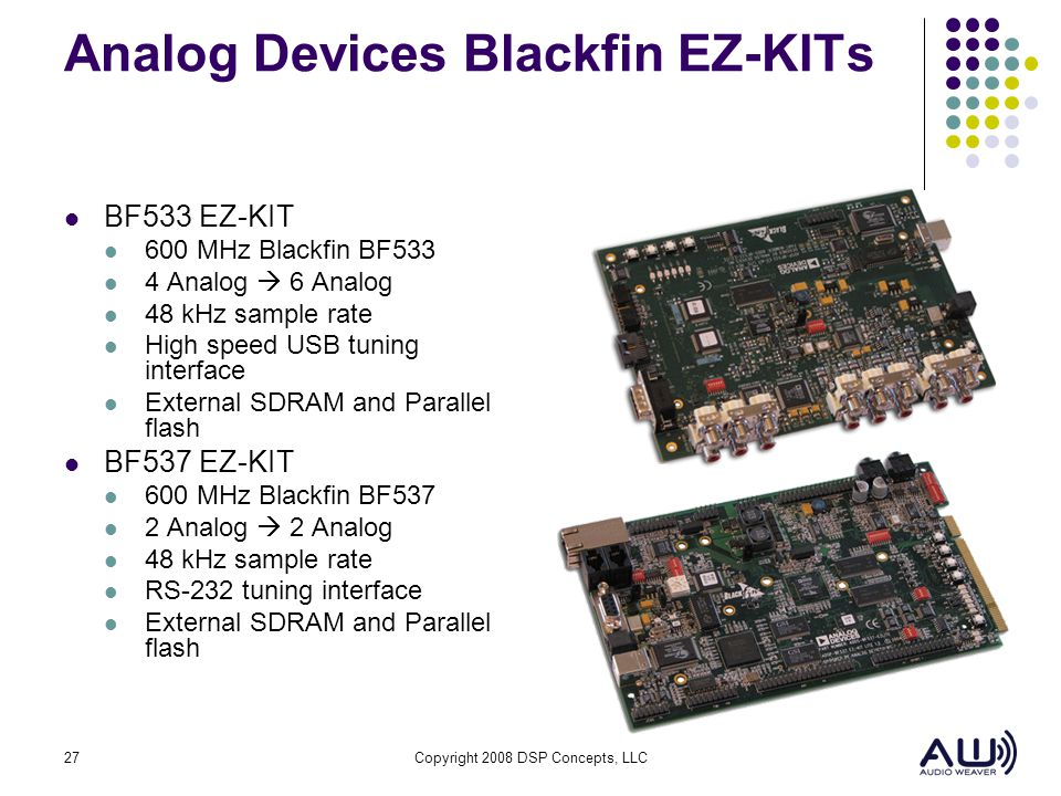 27Copyright 2008 DSP Concepts, LLC Analog Devices Blackfin EZ-KITs BF533 EZ-KIT 600 MHz Blackfin BF533 4 Analog 6 Analog 48 kHz sample rate High speed