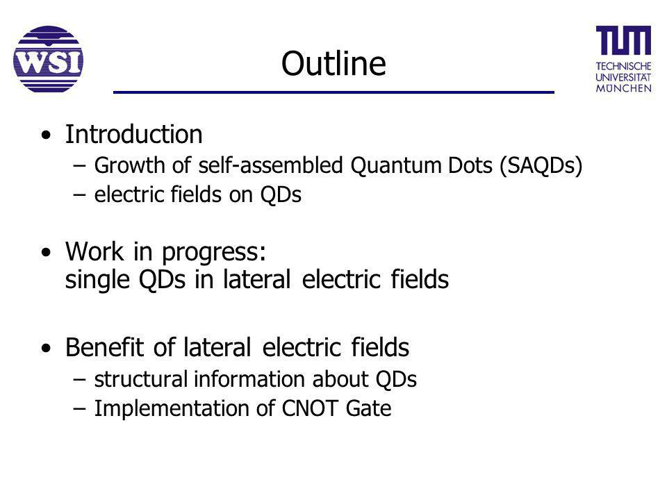 Outline Introduction –Growth of self-assembled Quantum Dots (SAQDs) –electric fields on QDs Work in progress: single QDs in lateral electric fields Benefit of lateral electric fields –structural information about QDs –Implementation of CNOT Gate